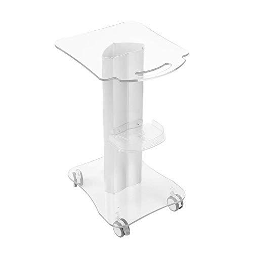 Plexiglass Salon Shelf Trolley, Rolling Wheel Cart for Spa Small Bubbles Beauty instrument, With Armrest Style