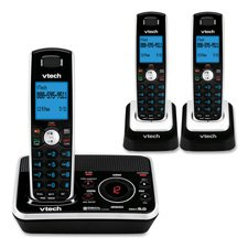 Vtech DECT 6.0 Black/White Expandable 3-Handset Cordless Phone System with Digital Answering Device and Caller ID (DS6221-3)