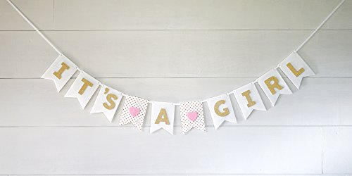It's A Girl Banner Laser Cut Felt 50 inches wide - Pink White Gold Shimmer Glitter Hearts and Polka Dot - Girl Banner