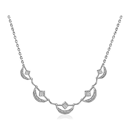 Nicole Miller New York Crescent Scalloped Collar Platinum Strand Necklace, Length 18 ()