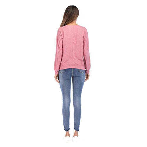 Femme Col avec Boutons Uni Chemisier Rond Xmiral Rose WwYqTp7n