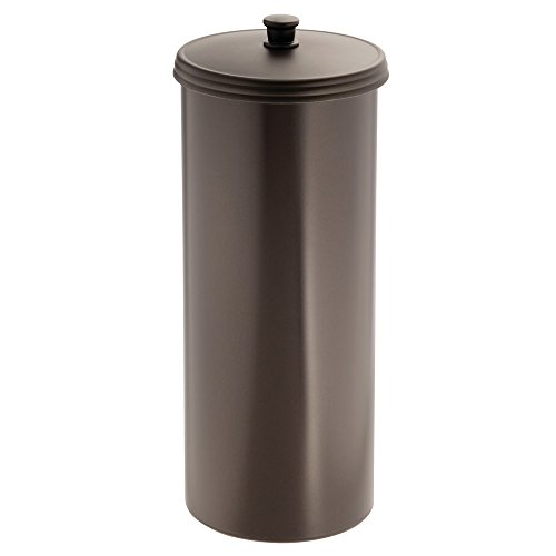 InterDesign Kent Free Standing Toilet Paper Holder  Spare Roll Storage for Bathroom, Brown