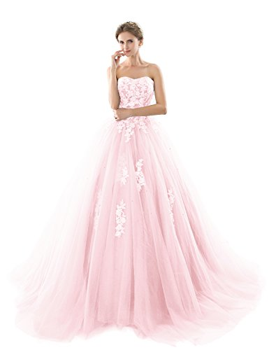 YIRENWANSHA 2018 Prom Dresses for Women Quinceanera Dress Puffy Ball Gowns Empire Waist Lace Appliqued Pleated Tulle Formal Clothing YZ93 Light Pink Size 18W