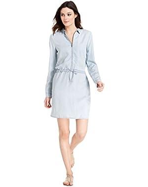 Calvin Klein Women's Long-sleeve Casual Lyocell Denim Shirt Dress Light Blue (L, XL)