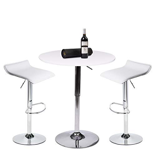PULUOMIS 35 Inches Height Pub Table Round White MDF Top, with 2 White Contemporary Chrome Air Lift Barstool Adjustable Swivel Stools ()
