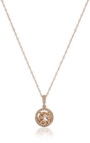 10K Rose Gold Morganite  Round With Diamond Halo Pendant Necklace (1/10 cttw), - Diamond Accented Mom Pendant