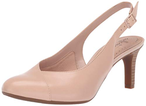 CLARKS Women's Dancer Mix Pump, Blush Leather, 070 M US