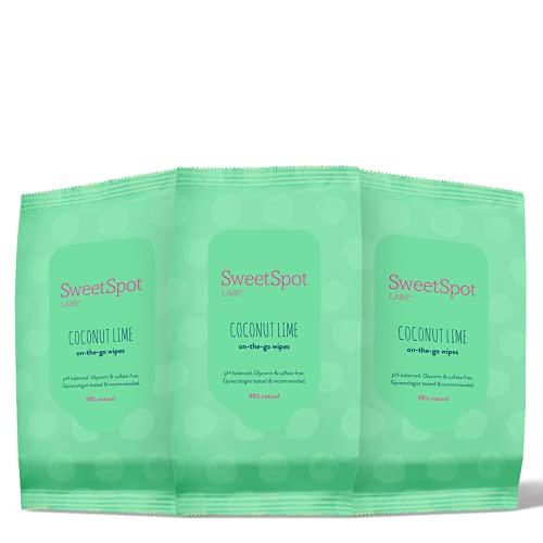 SweetSpot Labs Coconut Lime Feminine Wipes | pH Balance Cleansing Wipes | Formulated with Witch Hazel and Aloe Vera for…