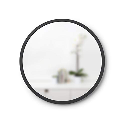 Umbra, Black Hub Rubber Frame-18-Inch Round Mirror for Entryways, Bathrooms, Living Rooms - Black Decorative Bathroom Mirrors
