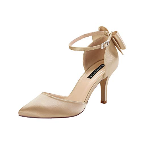 (ERIJUNOR E1876B Wedding Evening Party Shoes Comfortable Mid Heels Pumps with Bow Knot Ankle Strap Wide Width Satin Shoes Gold Size 7 )