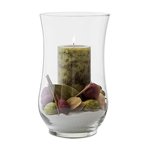 Libbey Angela 4-Piece Glass Hurricane Vase Set, 13-inch