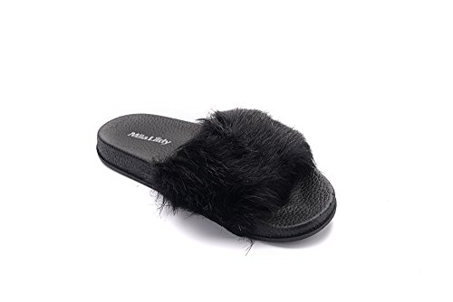 black Flops Outdoor Non for A Slipper Indoor Shoes Beach Casual Ashley Collection Womens Fur Sandals Slip Flip qgFaUYF