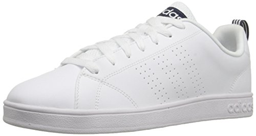 adidas NEO Men's Advantage Clean VS Lifestyle Tennis Shoe,White/White/Collegiate Navy,9.5 M US (Adidas Tennis Sneakers)