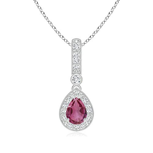 (Vintage Style Pink Tourmaline Drop Pendant with Diamond Halo in Platinum (7x5mm Pink Tourmaline))