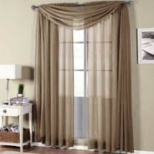 Gorgeous Home 3PC TAUPE TAN VOILE SHEER WINDOW CURTAIN SET 2 PANEL 1 VALANCE SCARF TREATMENT