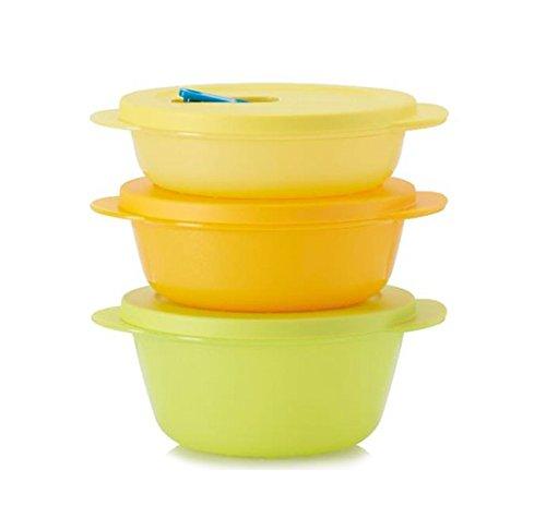 TUPPERWARE CRYSTALWAVE round set Yellow/ Orange (Tupperware Crystalwave Container)