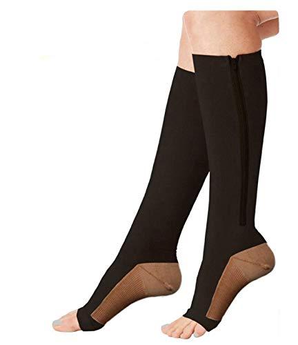 TASOM Zip Compression Socks Sports Medical Recovery Support Open Toe Stockings Zipper Zippered Helps Swollen Leg Foot Feet Knee Ankle Arch Pain Ache Relief – 1PrZipSxBlkCopperXXL