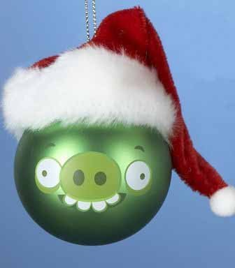 - Kurt Adler Green Pig Angry Bird with Santa Hat Glass Ball Christmas Ornament 2.5
