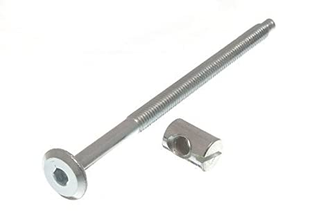 Furniture Cot Bed Bolt Allen Head With Barrel Nut 6Mm M6 X 100Mm Zp Pack Of 4