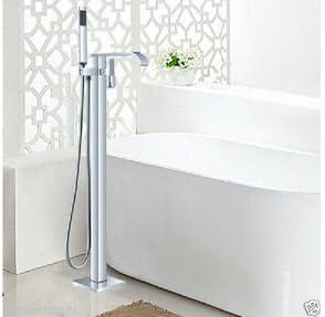 BZM-ZM 蛇口卸売小売バスルームクローム仕上げ床立ち自立マウント浴室浴槽ミキサータップ蛇口、クリア