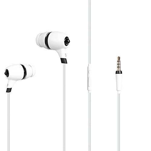 MAGENTA Sports Headphones In-Ear Stereo Earphones Earphones Noise Reduction with Microphone, Camera Headphones ( White) by mreyou