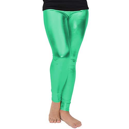 fa792243ba15f Stretch is Comfort Girl's Metallic Leggings Kelly Green Small ...