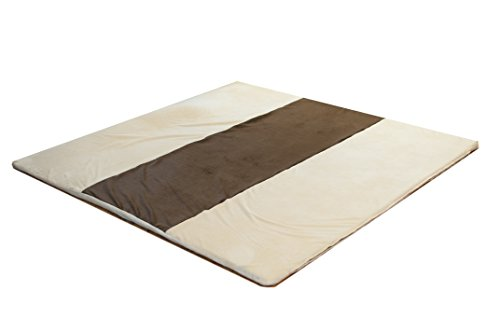 Snug Square Play Mat – Large 55 Ultra-Comfortable, Plush Foam Playmat for Baby, Toddler, and Children with Bonus Carry Case Cream-Espresso