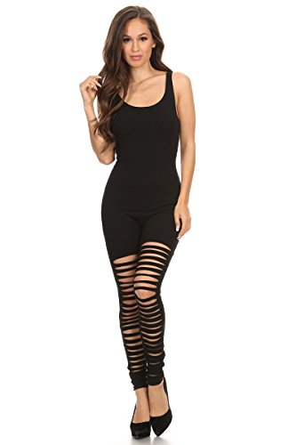 (Women's Scoop Neck Sleeveless Stretch Cotton One piece Jumpsuits Unitard Bodysuits(&Plus) (Small, BLK-Drop))