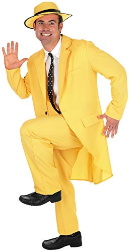 Mens Mask Yellow Suit Costume Adults 90s Comedy Movie Character Outfit - Medium