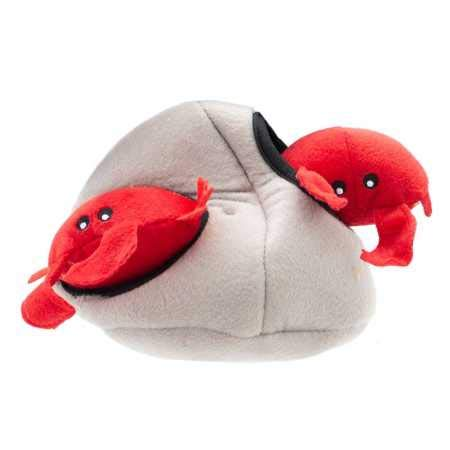 ZippyPaws - Sea Buddies Burrow, Interactive Squeaky Hide and Seek Plush Dog Toy - Crab 'n -