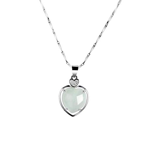 Natural Genuine Jade Heart Pendant 925 Sterling Silver Necklace Lady Women