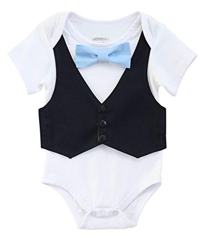 (Noah's Boytique Vest with Bow Tie Set Navy Blue and Blue Bow Tie Wedding Outfit Summer Spring Church Formal Fancy One Piece Romper Bodysuit 18 Months)