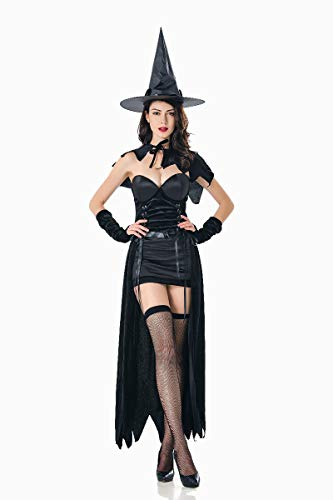 XSQR Halloween No?l Cosplay Femme Sorcire Maquillage Diable Costume De Performance Noir