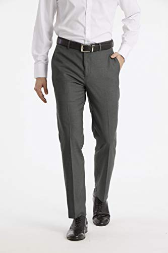 Calvin Klein Men's X Performance Slim Fit Flat Front Dress Pant, Medium Grey, 34W x 30L