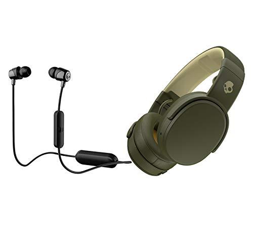 Skullcandy Crusher Foldable Noise Isolating Over-Ear Wireless Bluetooth Immersive Headphone Bundle with Skullcandy Jib Bluetooth Wireless in Ear Earbuds - Black, Moss