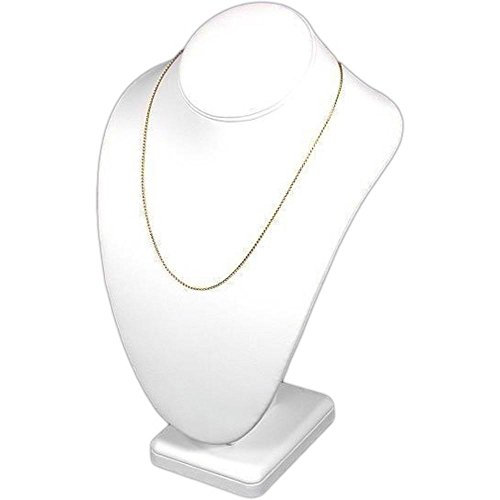 FindingKing Necklace Bust Showcase Display White Leather Jewelry