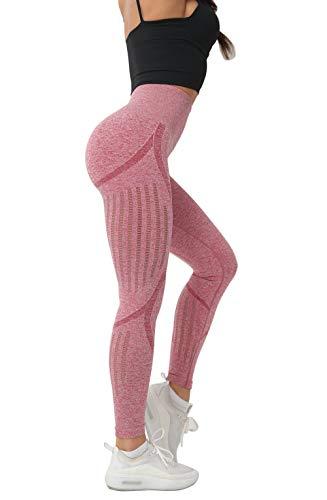 Women's High Waist Seamless Leggings Ankle Yoga Pants Squat Proof Tights Pink (Best Squat Proof Leggings)