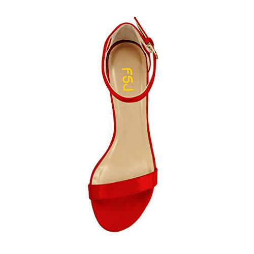 Women US Sandals Strap FSJ Shoes Chunky Basic 4 Heels Casual 15 Size Toe Comfort Red Mid Open Ankle anrfwdqf0