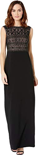 Adrianna Papell Women's Cap Sleeve Beaded Long Dress with Crepe Skirt, Black Nude, 16