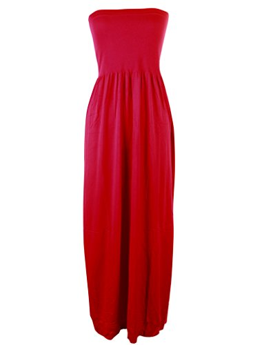 Mb Trend Seamless Solid Strapless Tube Maxi Dress, One Size, (Cebra One Light)