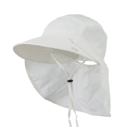 UV 50+ Talson Large Bill Hat with Detachable Flap - White OSFM
