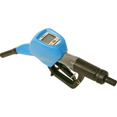 LiquiDynamics Polypropylene Automatic Shutoff DEF Nozzle with Fuel Meter - 1in. BSPP Inlet/3/4in. O.D. Spout, 12GPM