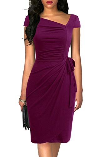 Liyinxi Vintage Women's Cap Sleeve Asymmetrical Neck Sheath Slim Formal Business Cocktail Party Faux Purple Wrap Dress (L, 8022-Purple) (Ladies Dresses To Wear To A Wedding)