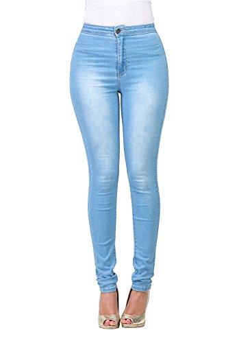 FASHION-LAND High Waisted-Rise Ladies Women Denim Stretch Skinny Jeans Pants (Light Blue, XL) - Denim Jeans Light