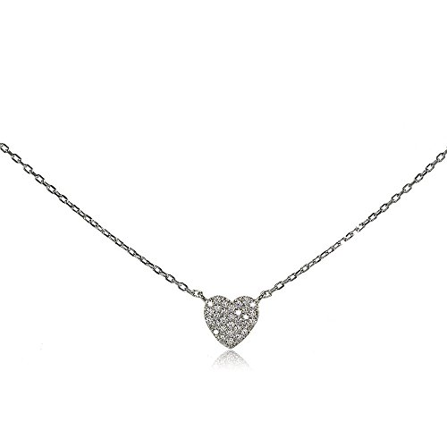 Sterling Silver Cubic Zirconia Heart Tiny Choker Necklace