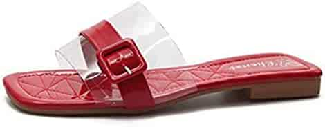 c46aaad5bc688 T-JULY Fashion Clear Strappy Buckle Open Toe Flat Slides Sandals for Women  Slip On