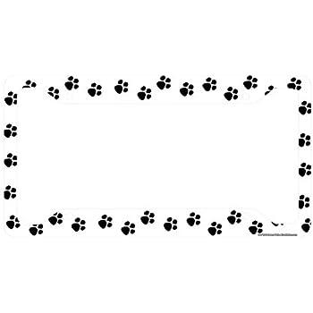 Amazon.com: Airstrike Paw Prints License Plate Frame, Cat Car Tag ...