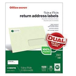Office Depot Brand 100% Recycled Mailing Labels, 505-O004-0031, Return Address, 2/3