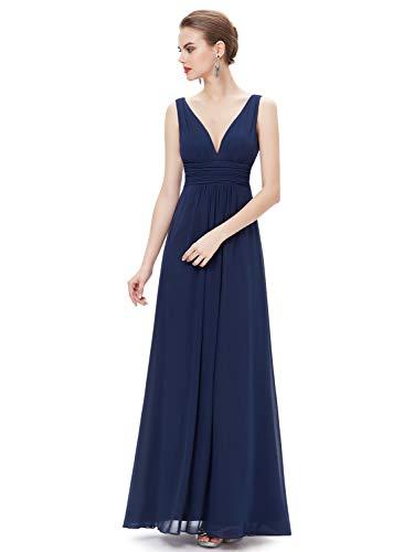 (Ever-Pretty Womens Empire Waist Double V Neck Maxi Evening Dress Navy Blue US20)
