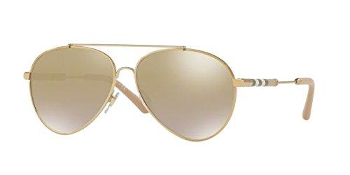 Burberry Women's BE3092Q Sunglasses Light Gold/Grad Light Brown Mirror Gold 57mm